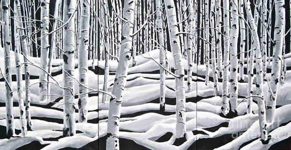 3 Panels Together In One Print Art Print featuring the painting Aspens Triptych by Reveille Kennedy