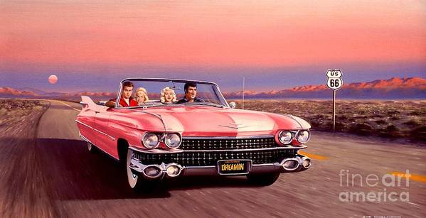 Cadillac Art Print featuring the painting California Dreamin' by Michael Swanson