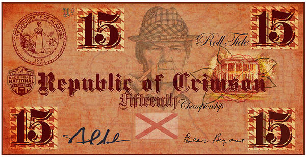 Money Print featuring the digital art Crimson Tide Currency by Greg Sharpe