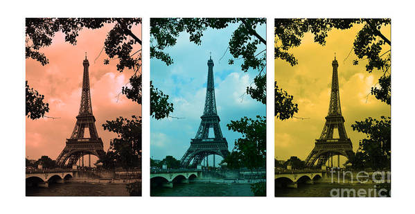 Eiffel Tower Paris France Photography Art Print featuring the photograph Eiffel Tower Paris France Trio by Patricia Awapara