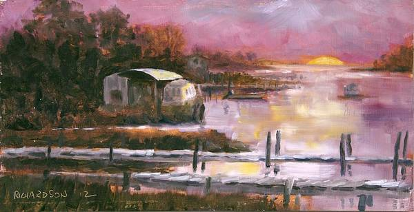 Sunrise Art Print featuring the painting First Light Two Mile Channel by Susan Richardson