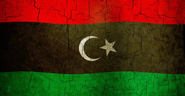 Aged Art Print featuring the digital art Grunge Libya Flag by Steve Ball