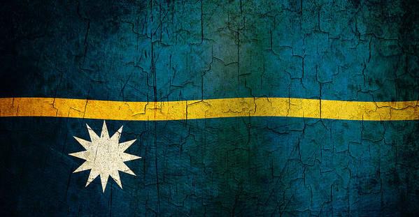 Aged Art Print featuring the digital art Grunge Nauru Flag by Steve Ball