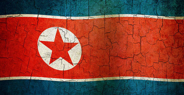 Aged Art Print featuring the digital art Grunge North Korea Flag by Steve Ball
