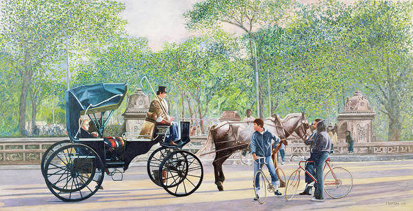 Transport Art Print featuring the painting Horse And Carriage by Anthony Butera