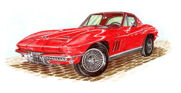 Red 1966 Corvette Stingray Fastback Art Print featuring the drawing Ruby Red 1966 Corvette Stingray Fastback by Jack Pumphrey