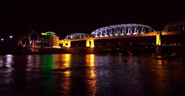 Shelby Street Bridge At Night Art Print featuring the photograph Shelby Street Bridge At Night by Dan Sproul