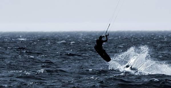 Kitesurfing Lake Michigan Art Print featuring the photograph Take Off by Dan Sproul