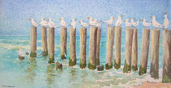 Seagulls Art Print featuring the painting The Town Meeting by Mary Ellen Mueller Legault