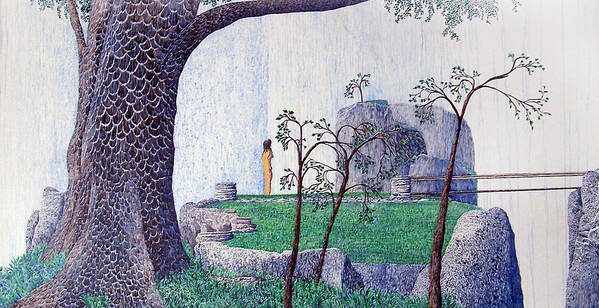 Landscape Art Print featuring the painting The Yearning Tree by A Robert Malcom