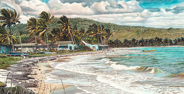Scenery Art Print featuring the painting The Water Front  by Gregory Jules