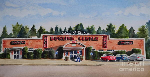 Art Print featuring the painting Bowling Center by Andrea Timm