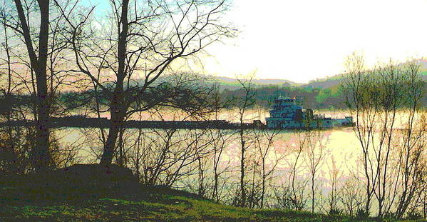 Coal Barge Art Print featuring the photograph Coal Barge In Ohio River Mist by Padre Art