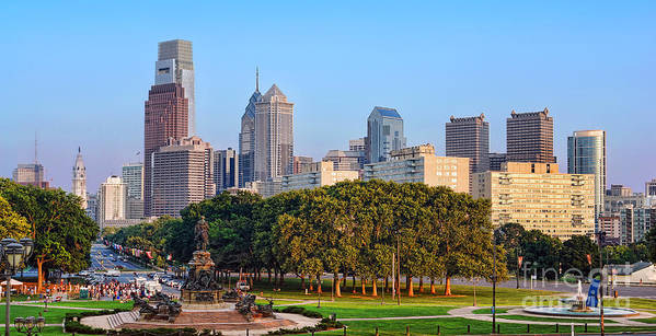 Downtown Print featuring the photograph Downtown Philadelphia Skyline by Olivier Le Queinec