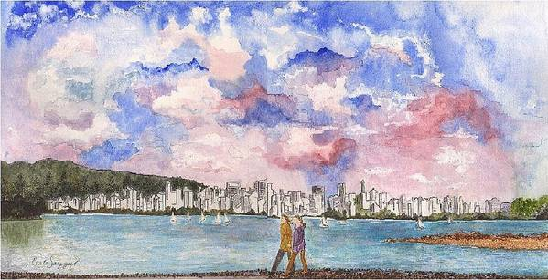 Vancouver Art Print featuring the painting English Bay by Carla Van Velze
