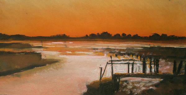 Study Art Print featuring the pastel Orange Estuary by Paul Mitchell