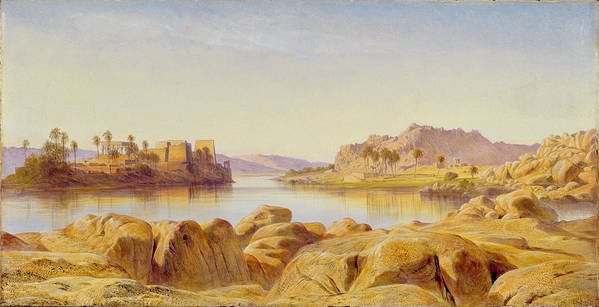 Philae Art Print featuring the painting Philae - Egypt by Edward Lear