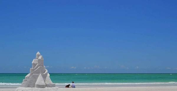Sandcastle On Lido Beach Art Print featuring the photograph Sandcastle by Gwen C