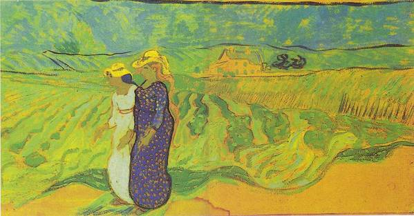 Two Women Crossing The Fields Art Print featuring the digital art Two Women Crossing The Fields by Vincent Van Gogh