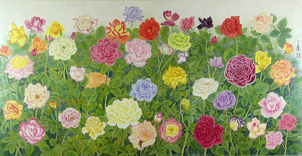 Flower Art Print featuring the painting Roses by Ying Wong