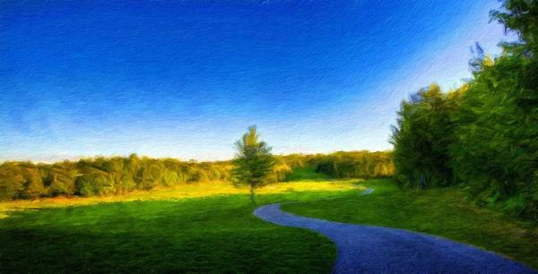 Landscape Art Print featuring the painting Nature Oil Painting Landscape Images by World Map