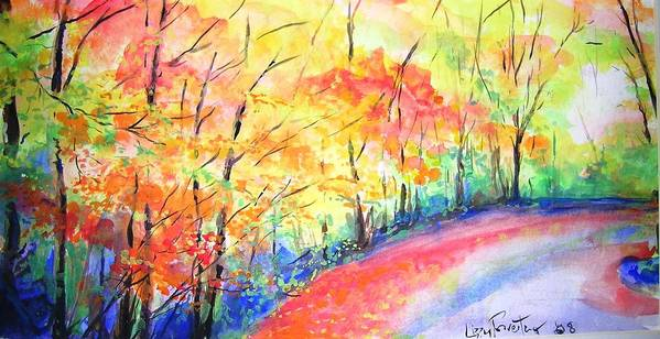 Autumn Art Print featuring the painting Autumn Lane Iv by Lizzy Forrester