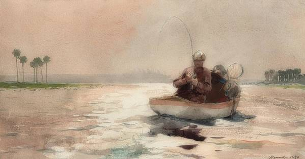 Painting Art Print featuring the painting Bass Fishing In Florida by Winslow Homer