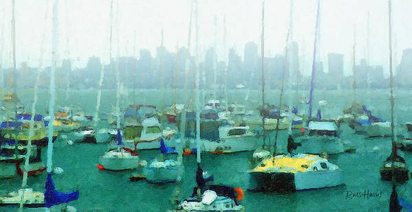 Boats Art Print featuring the painting Boats In The Bay by Russ Harris