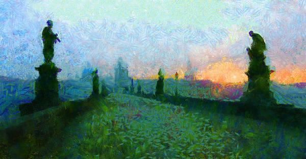 Charles Bridge Art Print featuring the painting Charles Bridge At Dawn by Peter Kupcik