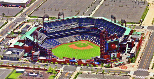 Aerial Photograph Art Print featuring the photograph Citizens Bank Park Phillies by Duncan Pearson
