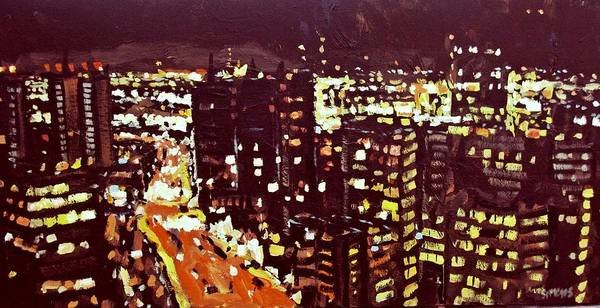 Paintings Art Print featuring the painting City Lights by Brian Simons