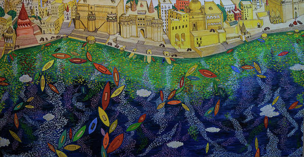 Ferry Art Print featuring the painting Ferry To The City Of Gold II by Murali Raman