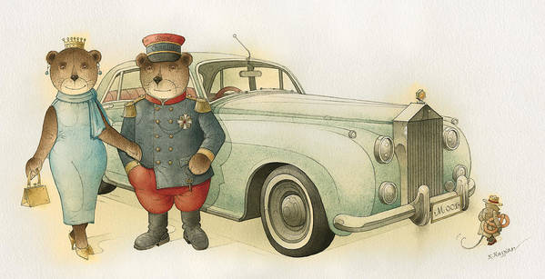 Bears Love Queen Limousine Rolls-royce Flirt Fashion Art Print featuring the painting Florentius The Gardener08 by Kestutis Kasparavicius
