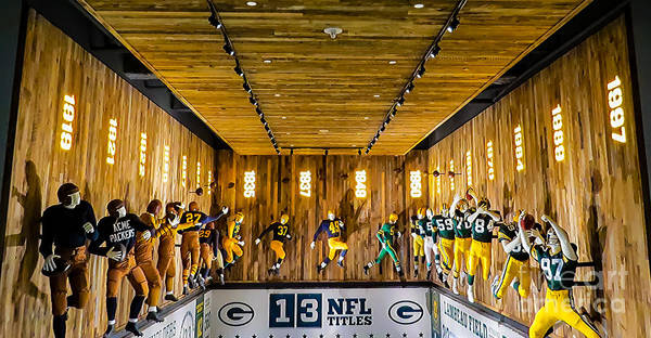 Green Bay Packers Uniforms 1919 Through 1997 Art Print featuring the photograph Green Bay Packers Uniforms Then And Now by Stephanie Forrer-Harbridge