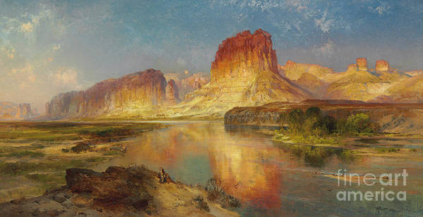 American Painting; American; Landscape; Castle Rock; Formation; Cliffs; Rocks; Reflection; Peaceful; Tranquil; Calm; Green River Of Wyoming Art Print featuring the painting Green River Of Wyoming by Thomas Moran