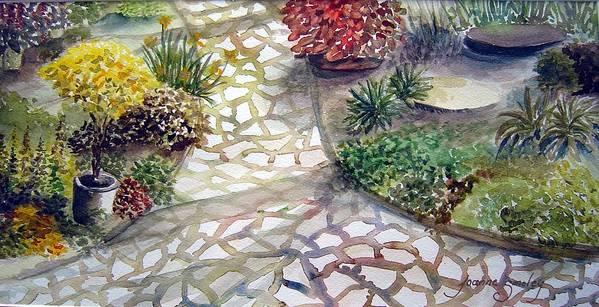 Garden Path Plants Art Print featuring the painting Jennifers Garden by Joanne Smoley