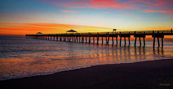 Delray Art Print featuring the painting Juno Pier Colorful Sunrise Panoramic by Ken Figurski