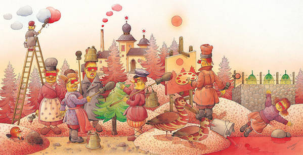 Red Russia Dream Art Print featuring the painting Lisas Journey10 by Kestutis Kasparavicius