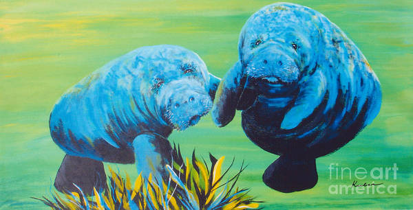 Manatee Art Print featuring the painting Manatee Love by Susan Kubes