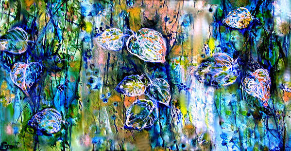 Leaves Art Print featuring the painting Mayan Memory by Mary Sonya Conti