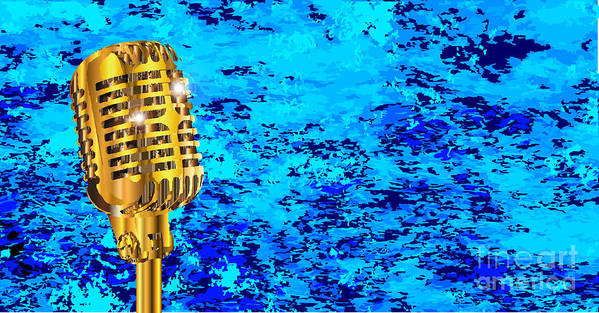 Microphone Art Print featuring the digital art Microphone On Blues Fire by Bigalbaloo Stock