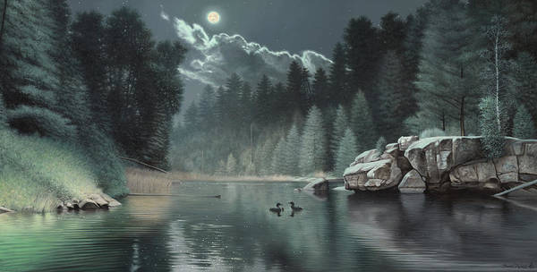 Loon Painting River Teal Green Rocks Boulder Pine Trees Forest Moon Cloud Wildlife Duck Loons Art Print featuring the painting Moonlit Waters-loons by Daniel Pierce