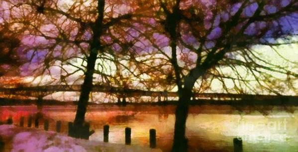 Newburgh - Beacon Bridge Art Print featuring the photograph Newburgh Beacon Bridge Purple Skies by Janine Riley