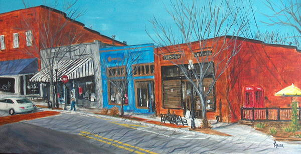 Townscape Art Print featuring the painting Paintin The Town by Pete Maier
