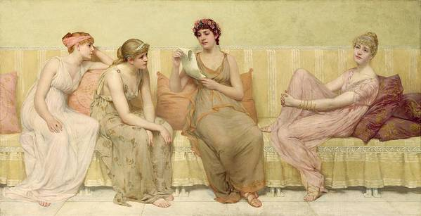 Reading Art Print featuring the painting Reading The Story Of Oenone by Francis Davis Millet