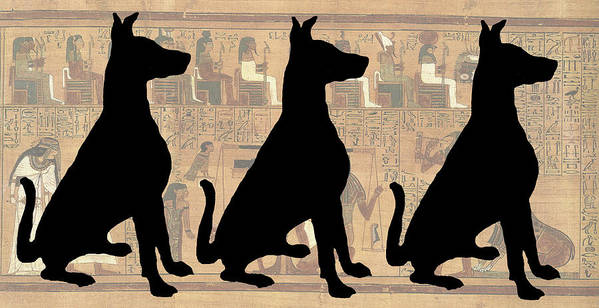 Dog Art Print featuring the photograph Regal Sit, Ancient Egyptian Background by Karla Beatty