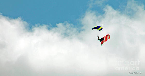 Skydiver Art Print featuring the photograph Skydiving Patriotism by Sabrina Wheeler