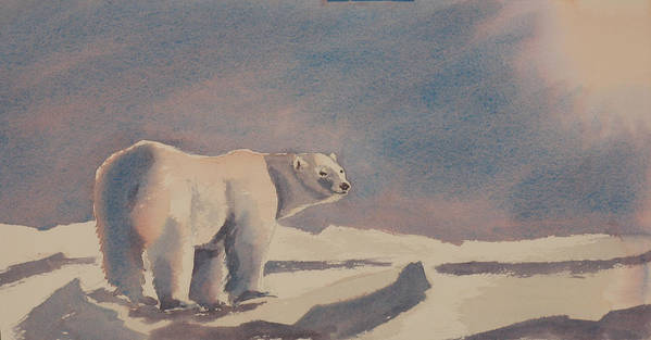 Polar Bear Art Print featuring the painting Solitary Polar Bear by Debbie Homewood