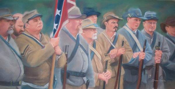 Civil War Reenactment Art Print featuring the pastel The Battle Of Wilson's Store by Diane Caudle
