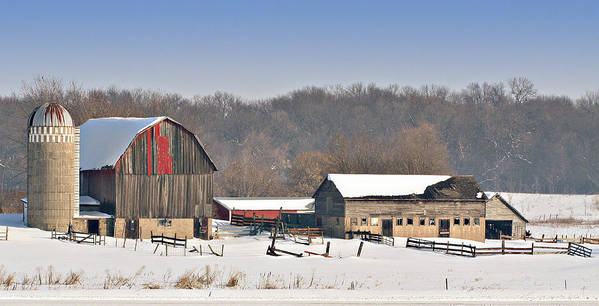 Barn Art Print featuring the photograph Winter Shed And Barn by Laurie With